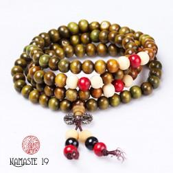 bracelet collier Mala tibétain en bois verveine 108 perles et dorjé argent tibétain