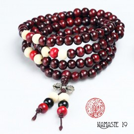 Japa Mala tibétain en bois de rose 108 perles et dorjé argent.