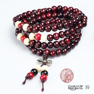 Japa Mala tibétain en graines de bois de rose 108 perles et dorjé argent.