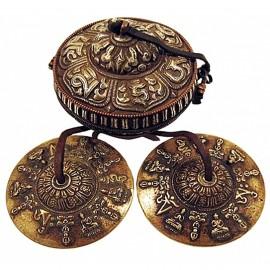 Cymbales Tibétaines, Ting-sha ou Tingsha 10 cm avec luxueux étui façon vieil argent