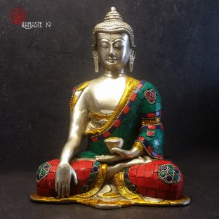 Bouddha Sakyamuni, 20cm mosaïques en pierre