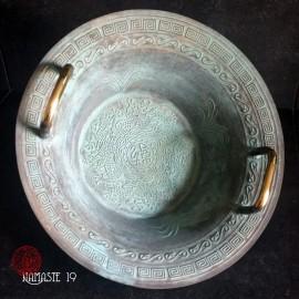 Bol jaillssant Taoïste , Longxi « Lung Ding » bol jaillissant en bronze chinois