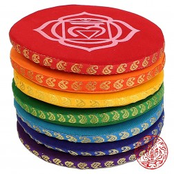 14,5cm. Pack de 7 grands COUSSINS POUR BOLS CHANTANTS SET - 7 CHAKRA