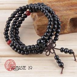 Mala tibétain en graines de bois noirci 108 perles et noeud sans fin