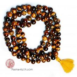 Mala tibétain Œil de tigre - QUALITÉ AAA - 108 PERLES
