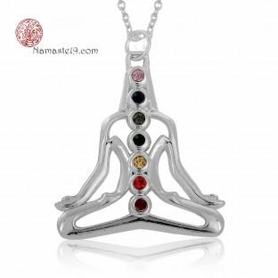 bijou pendentif yoga 7 chakras