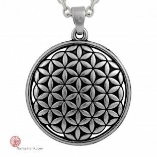 moyen bijou médaille pendentif fleur de vie