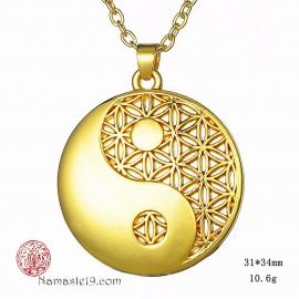 bijou médaille pendentif YIN YANG fleur de vie. or