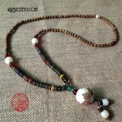 Mala bouddhiste tibétain en graines de bois de rose avec noix d'ivoire végétal graine de bodhi dragon