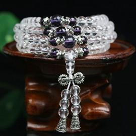 Mala collier bracelet tibétain en cristal clair et améthyste avec dorge et gourde en argent tibètain