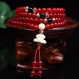 Mala bracelet bouddhiste de prière tibétain en calcédoine rouge tibétain 108 perles