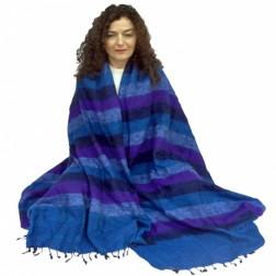 Très grand châle couverture de méditation XXL mauve, violet et bleu