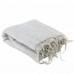Très grand châle couverture de méditation XXL blanc et gris