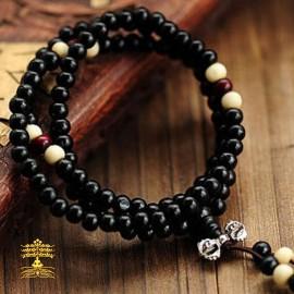 collier tibétain Mala en bois noirci ébéne 108 perles