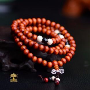 collier tibétain Mala en bois noisette 108 perles