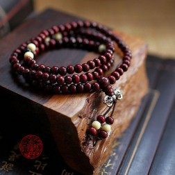 collier tibétain Mala en bois palissandre 108 perles