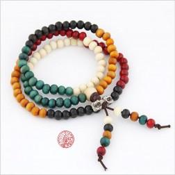 collier tibétain Mala en bois 5 éléments 108 perles