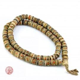 Mala médicinal tibétain en os de yak incrusté de corail