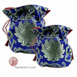 Bourse pour mala en brocart de soie bleue et or