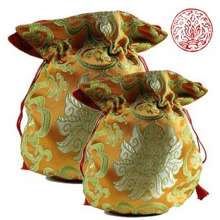 Bourse pour mala lotus en brocart viel or