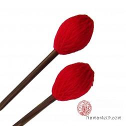 Long maillet mi-dur pour bol chantant rouge note aigu
