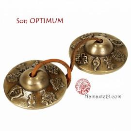 Cymbales - son longue durée 8 signes auspicieux, tingsha de soin