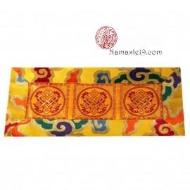Napperon tibétain 3 nœuds infinis et nuages pour bol chantant, Brocard de soie 40 x 18 cm