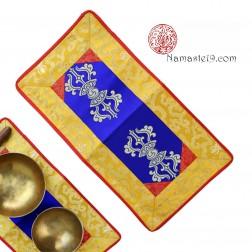 Napperon tibétain 2 Dorjes pour bol chantant, Brocard de soie 42cm x 23cm
