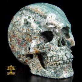 17/26 Crâne en Agate Indienne. Crâne de réalisme et de protection.