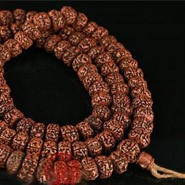 rare Mala de grosses rudraksha anciennes huilées 108 perles