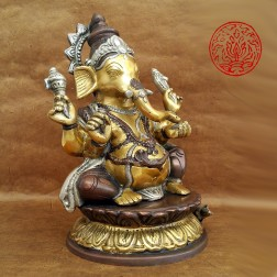 superbe sculpture GANESH en BRONZE BICOLORE 26 CM