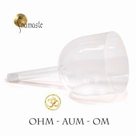Bol chantant cristal de quartz CLAIR Ohm à poignée avec sac
