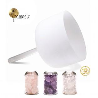 Bol chantant cristal de quartz Ohm à poignée 25cm
