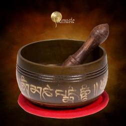 Coffret cadeau Rouge bol chantant Tibétain Ohm 9 métaux.