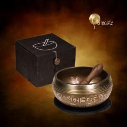 Coffret cadeau Noire bol chantant Tibétain Ohm 9 métaux.