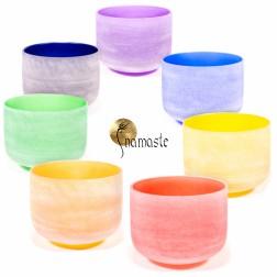 Set bols chantants de cristal de 7 couleurs + housses professionnelles