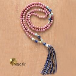 japa Mala Tibétain en rhodonite et lapis dépoli 108 perles 6/7 mm