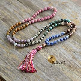 Mala de yoga et méditation 7 chakras en jaspe, et agate 108 perles 8 mm