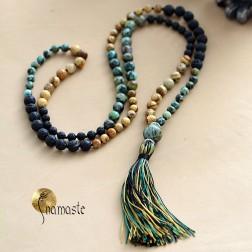 Superbe long Mala de méditation et yoga en turquoise, lave, jaspe 108 perles 8mm