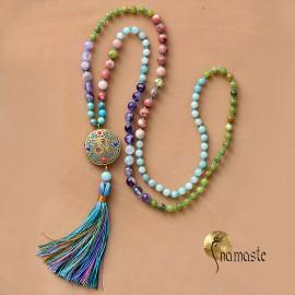 Mala Ohm de méditation en jaspe, améthyste, turquoise, pierre de lune, 108 perles 8 mm