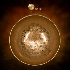 Bol chantant de l' Himalaya Bouddha médecine gravé