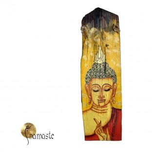 18/1 Bouddha Thaî peint sur une tuile en bois.