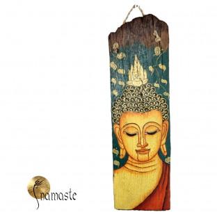 18/7 Bouddha Thaî peint sur une tuile en bois.