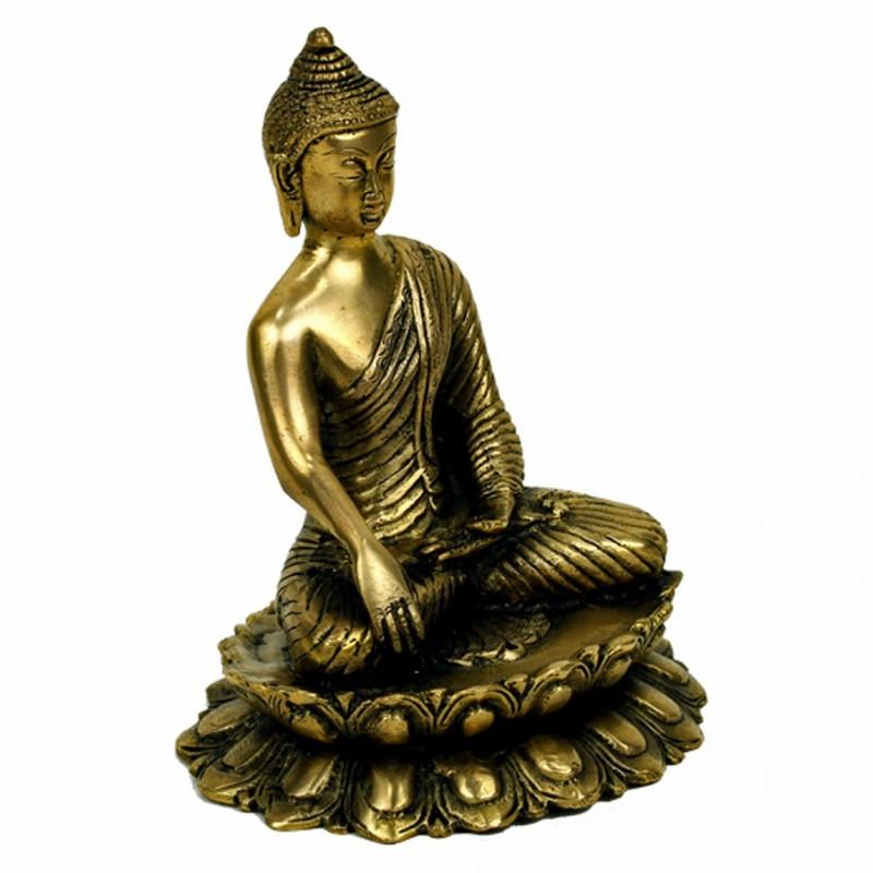bouddha sakyamuni sur le lotus statue bouddha sculpture bronze 20 cm. Black Bedroom Furniture Sets. Home Design Ideas