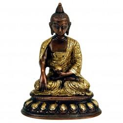 Bouddha Sakyamuni, statue sculpture bicolore bronze 15 cm
