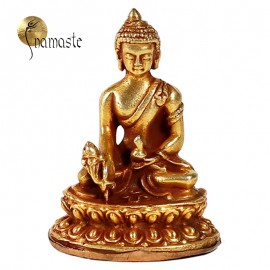Mini statue Bouddha médecine cuivre plaqué or