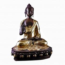 Bouddha statue mudra de l'enseignement, bronze bicolore 20 cm
