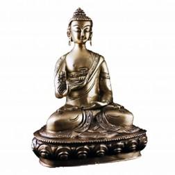 Bouddha statue mudra de l'enseignement, bronze unicolore 20 cm