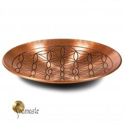 Assiette de cuivre motif fleur de vie
