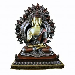Bouddha Shakyamuni sculpture bronze bicolore avec aura 29cm 5kg